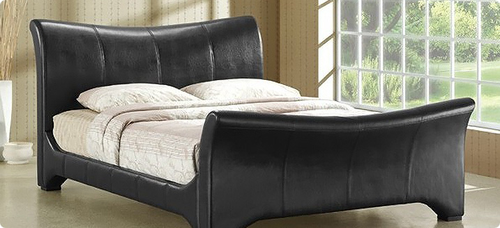 Stylish Designer wave shaped leather bed